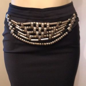 Accessories - Silver, Metal and Macrame cord belt